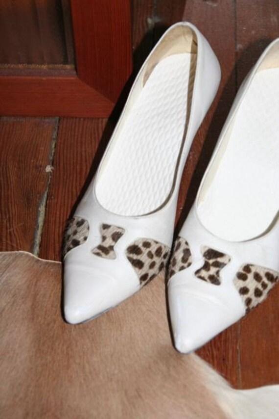 SALE- White Hot 80's Leather Stilettos with Leopard Print Pony Hair- Size US 9/ EUR 39