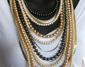 Mocha Latte- Vintage Faux Pearls and Vintage Snake Chain Necklace by Ashlee Collection on Etsy