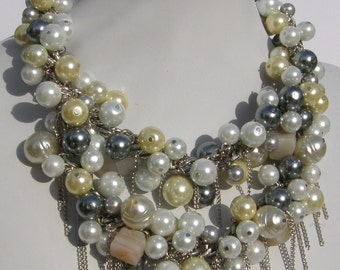 Bridal Rustic Bib Necklace by Ashlee Collection on Etsy
