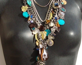 Chloe-Long Gunmetal Vintage Charm Necklace by Ashlee Collection on Etsy