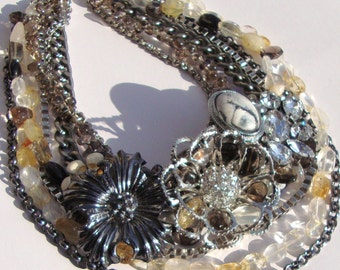 Reinvented Vintage and Gemstone Necklace by Ashlee Collection on Etsy