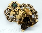Victorian Floral Beetle Brooch Pendant Brass Ox Bug Jewelry Green Rhinestone PIN0005 by LooLoo's Box Handcrafted jewelry