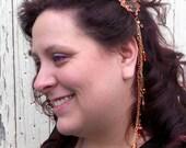 Oak Leaf Barrette Hair Jewelry with Chain & Charm FASCINATOR Copper Brass Hyacinth Crystal Hair0007 by Robin Delargy LooLoo's Box