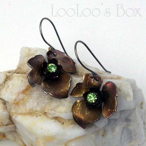 Brass Leaf Earrings Bronze Patina, Copper Ox & Peridot Swarovski Crystal E0517 by Robin Delargy LooLoo's Box Handcrafted Jewelry