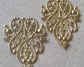 Raw Brass Filigree Stamping/Drop (2) Victorian, Ornate, Steampunk