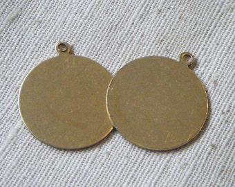Vintage Round Raw Brass Pendant/Tag (4) Die Stamping