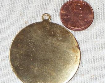 Vintage Raw Brass Round Pendant/Tag (2) Die-stamping