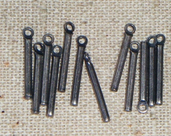 Vintage Gunmetal Steel Bar Drops (24) Steampunk, Industrial, Doomsday