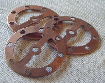 Vintage Copper Plated Steel Disk Gear Connector (6) Steampunk, Patina