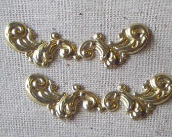 Raw Brass Flourish Stamping (2) Victorian, Ornate, Steampunk, Art Nouveau