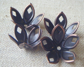 Five Petal Plated Steel Beadcap Copper Color (12) Steampunk, Nature