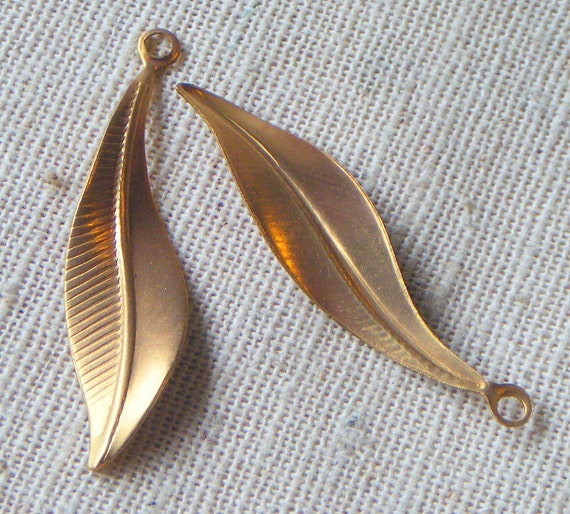 Vintage Brass Twisted Leaf Drop (6) Steampunk, Nature