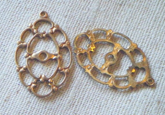 Vintage Raw Brass Oval Filigree Setting Frame (4) Cameo, Victorian