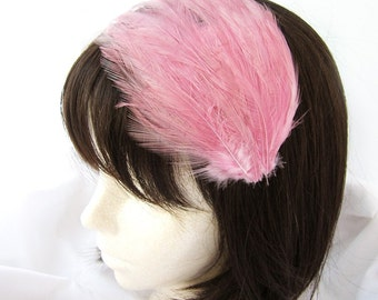 Rose Pink feather fascinator headband, comb, or hair clip - fascinator millinery supply blank base