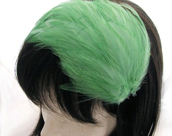 Mint Green feather fascinator headband, comb, or hair clip - fascinator millinery supply blank base