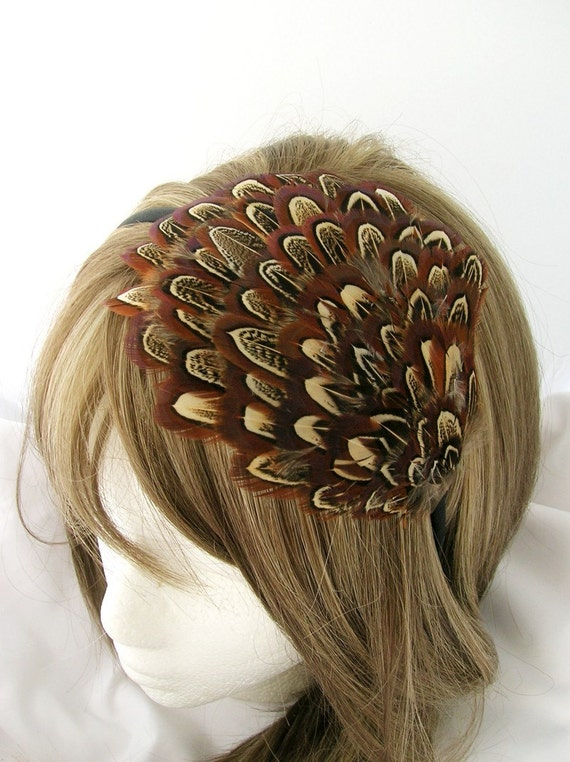 Amber brown almond patterned feather fascinator headband, comb, or hair clip - fascinator millinery supply blank base