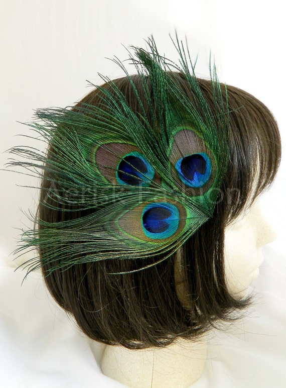 Natural Peacock feather color hair Clip - KARI design (12 color option and 4 fastener option) for derby,masquerade,prom,wedding reception