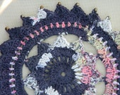"""Crocheted 8.5"""" Round Doily with Glass Bead Detail"""