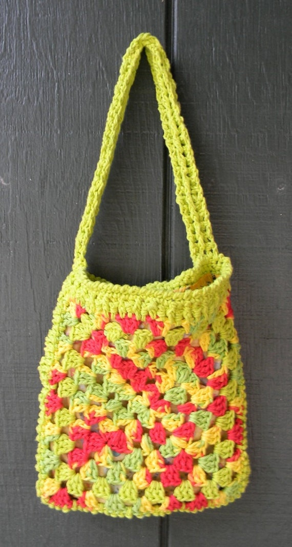 Crocheted Purse / Tote Bag  Medium Size  in shades of  cherry lime, yellow and red  lined with cotton fabric