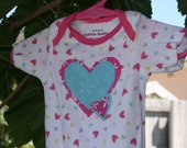 Baby Girl Onsie with Pink and Turquoise Heart Applique (size 0-3 months)