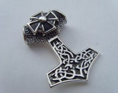 Solid Silver 925 THOR THOR'S HAMMER Celtic Pendant