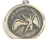 Solid Sterling Silver 925 Led Zeppelin / Swan Song Zoso Pendant Necklace Jimmy Page Plant