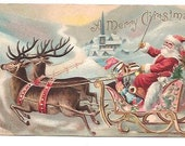1907 Santa Christmas Card Postcard
