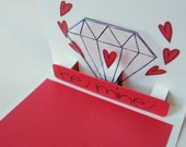 Valentine card with hearts and diamond