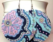 Clearance - Shades of Blue Circle Fabric Large Earrings