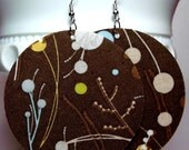 Clearance - Brown Bubble Vine Circle Fabric Large Earrings