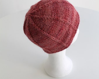 Hand knit beanie hat for women in merino alpaca mix