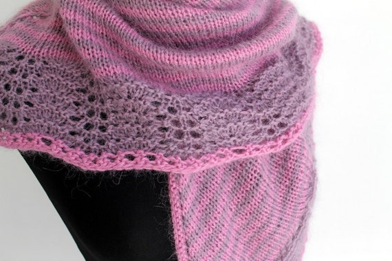 Triangle shawl with lace edging in pink and lavender
