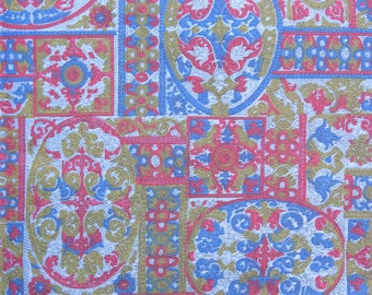 "50% OFF FABRIC SALE! 40s 50s Vintage Fabric - Blue Red and Green Tapestry Print - 6 1/3 yds x 38"" wide"