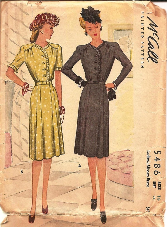 1940s Day Dress - Vintage Sewing Pattern McCalls 5486 - 34 Bust