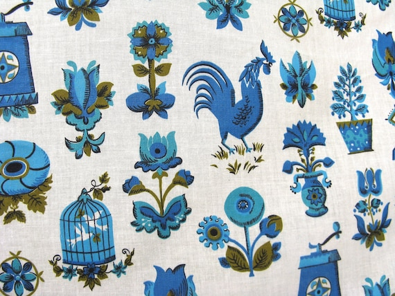 1950s 1960s Vintage Sewing Fabric - Blue Folk Cotton yardage - 6 1/2 yds X 35in wide