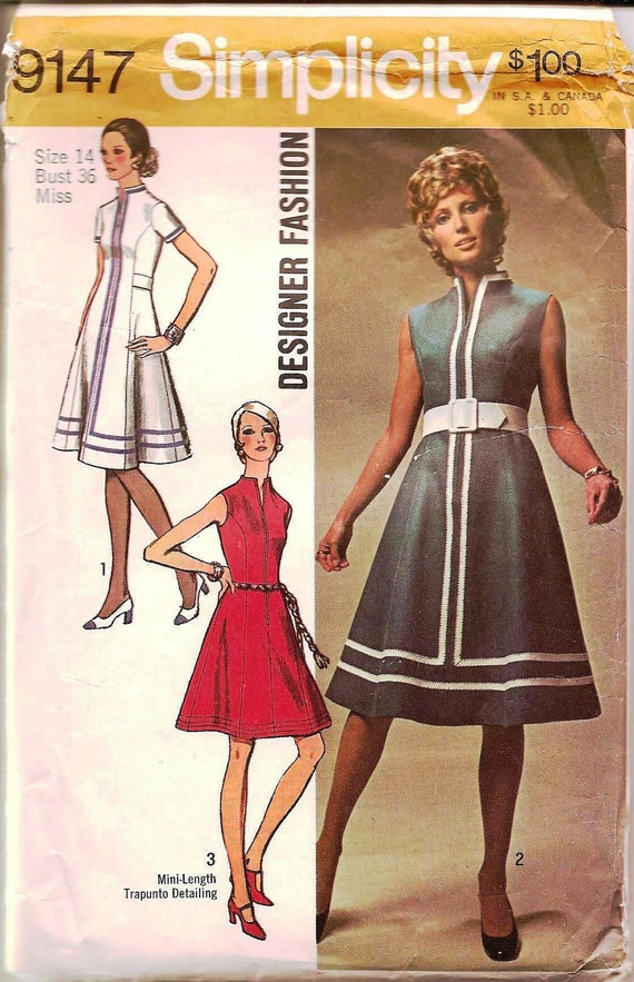 1970s Princess Seamed Dress - Vintage Sewing Pattern Simplicity 9147 - Bust 36