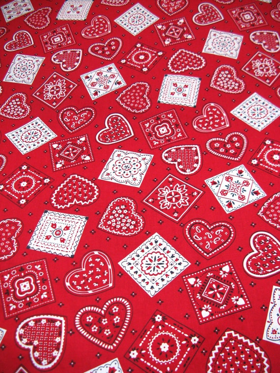 Cotton Fabric - Red Heart Bandana Valentines Day Print - 1 3/4 yds x 42 in wide