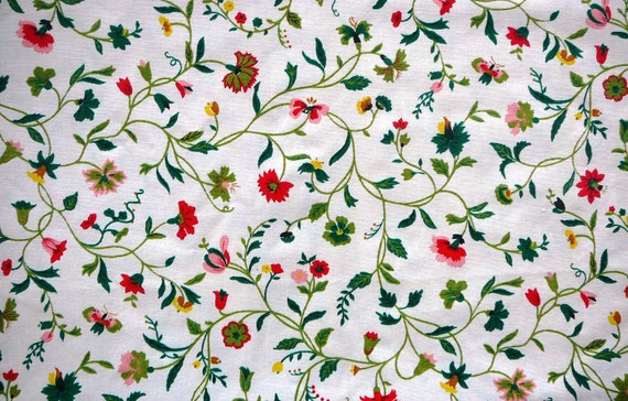 "Vintage Home Decor Fabric - Pink and Red Floral and Vines - 4 yards x 45"" wide in two pieces"