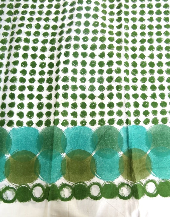 "1960s Midcentury Vintage Fabric Yardage - Green Dot Print by Robarre Fabrics, Inc - 7 yds, 32"" x 37"" wide"