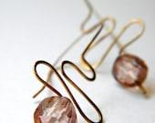 Rose Quartz Squiggle Dangle Earrings
