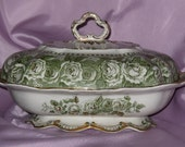 RESERVED FOR PEGGY Antique English Ridgways Turn Of The Century Victorian Covered Dish With Roses TREASURY ITEM