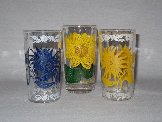 Three Vintage Flower Glass Tumblers