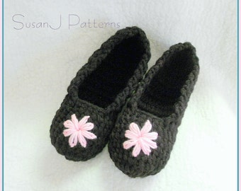 Instant download - House Slippers - Crochet Pattern PDF