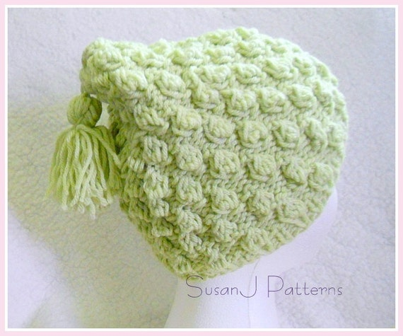 Knitting Pattern For Headbands : Bobble Stitch Hat Knitting Pattern instant download