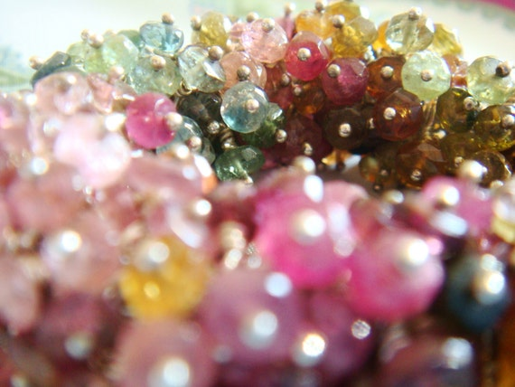 tourmaline bracelet - SNAKE - silver bracelet, red orange yellow green indigo blue purple bracelet, rainbow bracelet,  make in your size