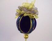Lori Bilodeau Ornament - Handmade Velvet Christmas Ball - Sultan's Scepter