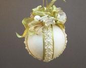 Lori Bilodeau Ornament - Handmade Beaded Velvet Christmas Ball - Diana