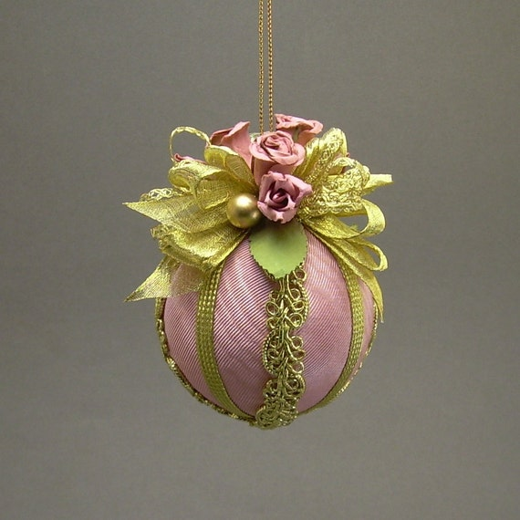 """Lori Bilodeau Christmas Ornament - Handmade Fabric Ball with Parchment Roses - """"Avon Lady"""""""