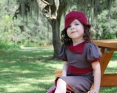 Vintage style hat in cranberry jersey, toddler cloche, childrens clothing, kid hats (custom colors and sizes available)