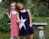 4T Dark Navy Blue dress with white star and collar. Cotton lycra jersey knit. READY TO SHIP
